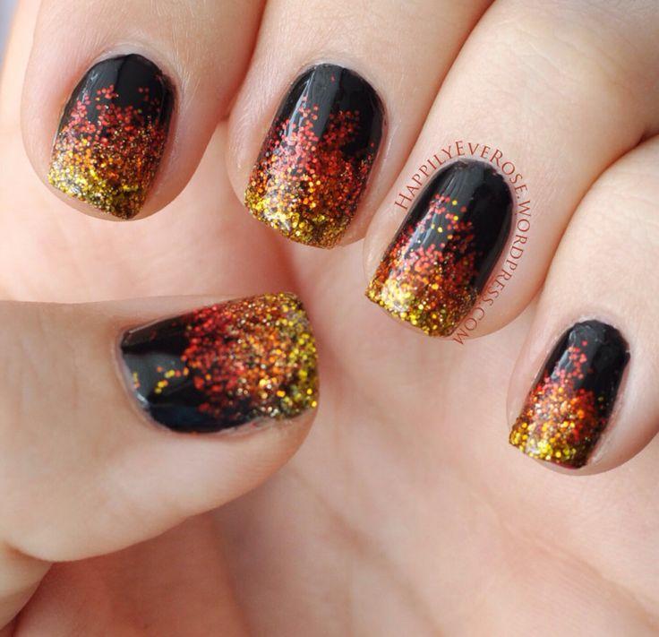 Hunger Games Catching Fire Nail art glitter design