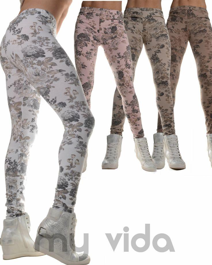 #Leggings pantaloni donna #slim #fit elasticizzati con stampa #floreale #clothes #sexy http://www.myvida.it/leggings-fiori