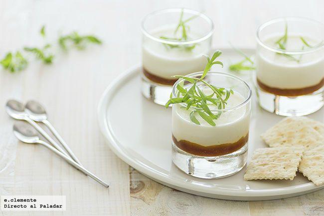 Panna cotta de parmesano con mermelada de tomate. Receta con fotos del paso a paso y sugerencias. Trucos y consejos de elaboración. Receta de aperitivos