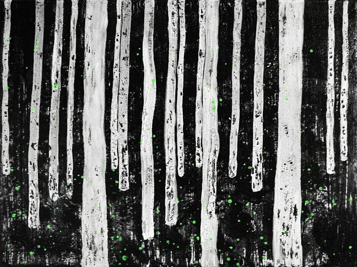 BREZOVÝ LES akryl na plátne 30x40 28.10.2017 spoluator AMETYST BIRCH FOREST acrylic on canvas 30x40 28.10.2017 co-author AMETYST