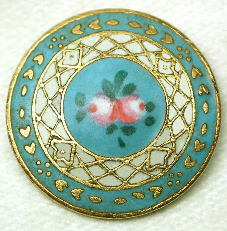 Antique French Enamel Button in Turquoise and Gold with hand painted Roses.