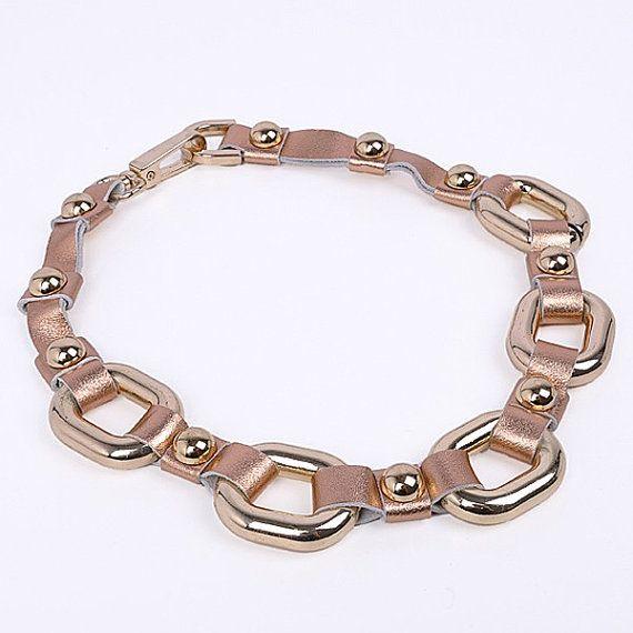 FJ Fashion Golden Chain Alloy Style Pink by Glamorosajewelry