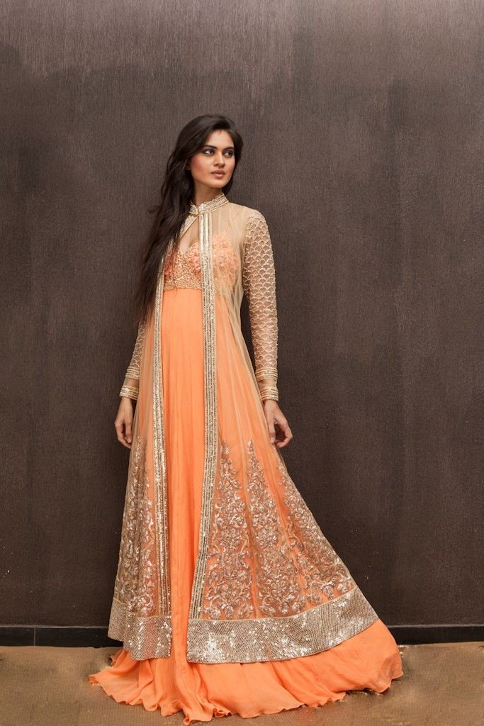 Lovely orange gown with long jacket... Soo pretty Indian