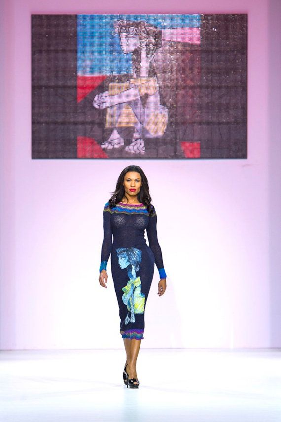 Knitted handmade couture dress  JACQUELINE ROQUE aux mains