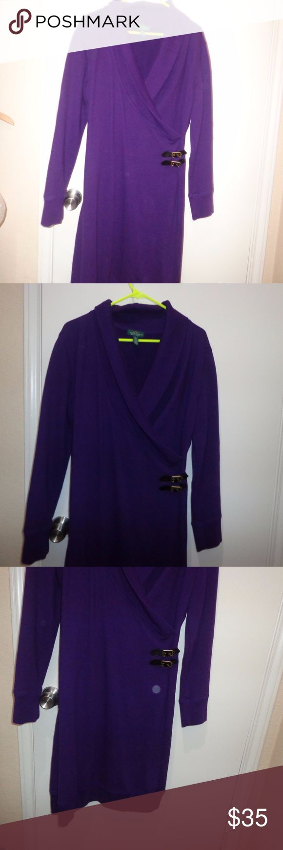 Large - Lauren Ralph Lauren Jeans Dress purple LRL - Lauren Jeans Co Ralph Luaren  purple, cowl neck , kinda sweatshirt material   100% cotton,  machine washable  armpit to armpit 20 length 40 9/28 Lauren Ralph Lauren Dresses
