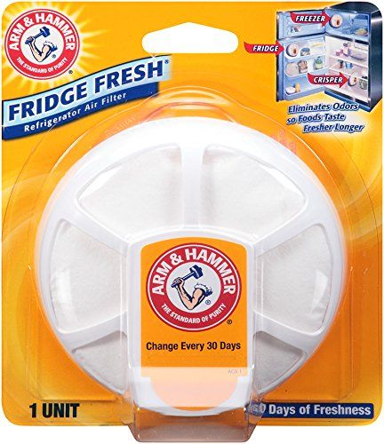 Arm & Hammer 33200-01710 Baking Soda Fridge Fresh Air Filter, 0.28 oz (Pack of 8) - Effectively fights odors in refrigerators and freezers to help foods taste fresher longer. Can be placed virtually anywhere and comes with a suction cup for easy placement. Features a replacement indicator to tell you when it needs to be replaced. 100% Baking Soda.