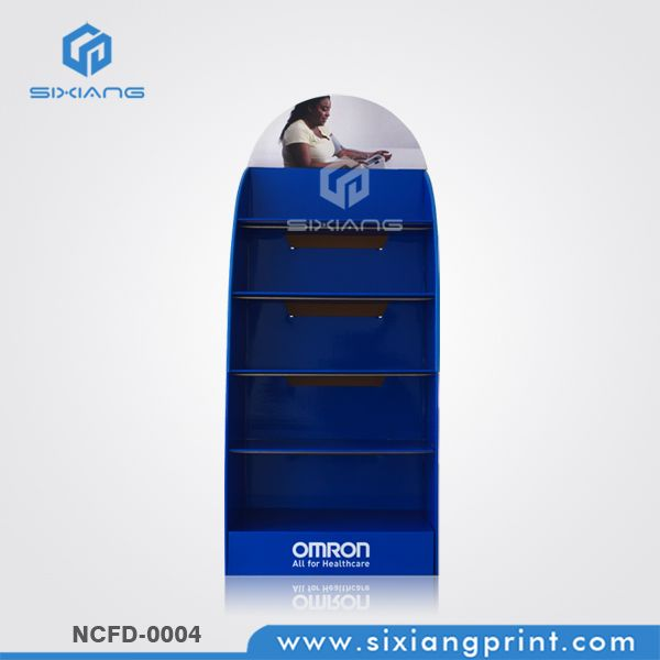 Healthcare Product Cardboard Display Stand With Iron Pipe