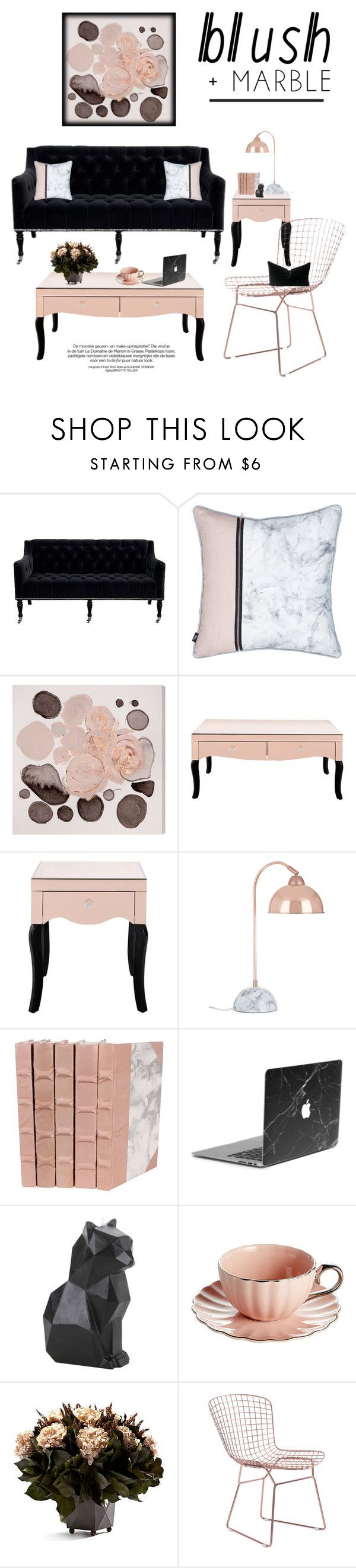"""Blushing Rose Gold & Black Velvet Marble"" by saifai ❤ liked on Polyvore featuring interior, interiors, interior design, home, home decor, interior decorating, Barclay Butera, Oliver Gal Artist Co., PyroPet and Bougainvillea"