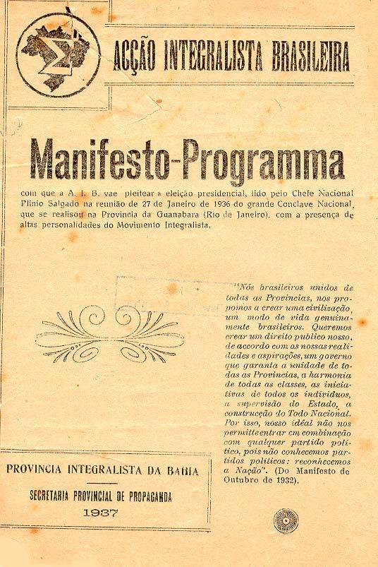 Manifesto da Ação Integralista Brasileira lançando a candidatura de Plínio Salgado, 1937. (CPDOC/OA 108f)