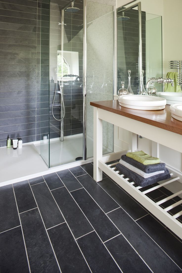 Black slate bathroom floor - Riven Black Slate Tiles From Mandarin Stone Offer An Incredibly Versatile Option For All Areas Of The Home And Garden Whatever Your Style Slate Flooring