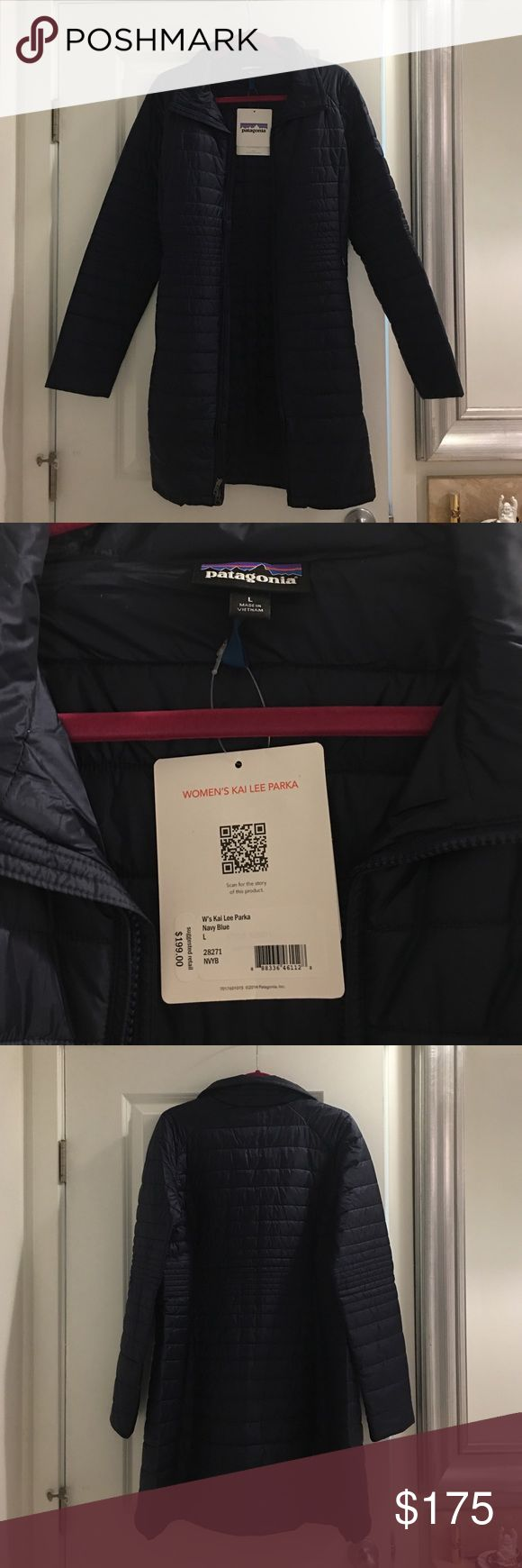 NWT Patagonia Navy Blue Kai Lee Parka SIZE L New with tags, never worn. $199 retail. Navy blue slim fit parka Patagonia Jackets & Coats Puffers