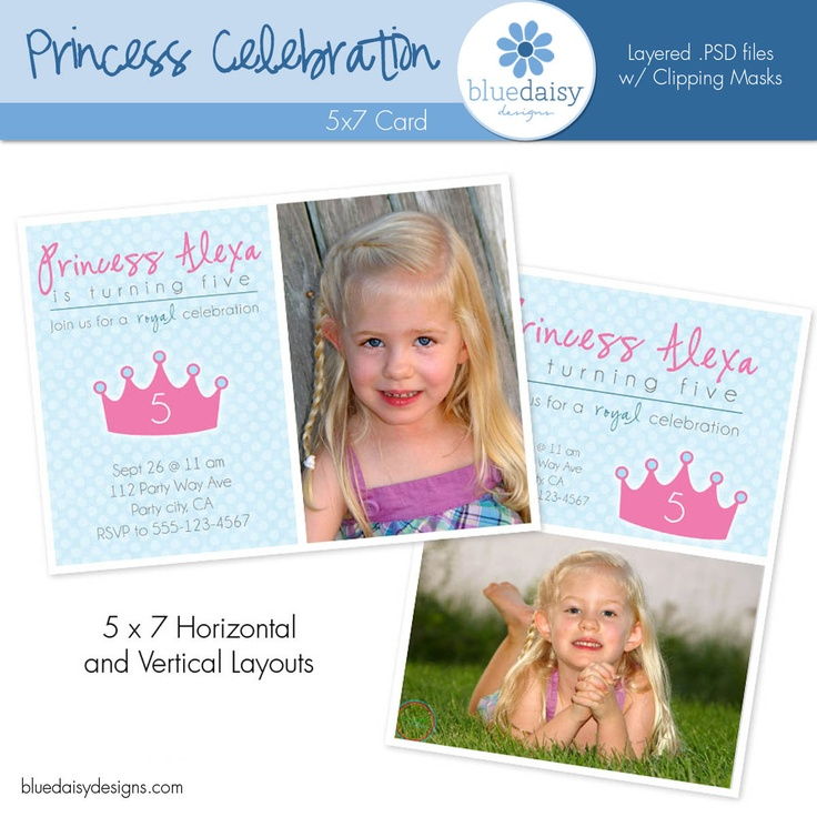 Princess Celebration Birthday Invitation - Custom Photo Card. $5.00, via Etsy.
