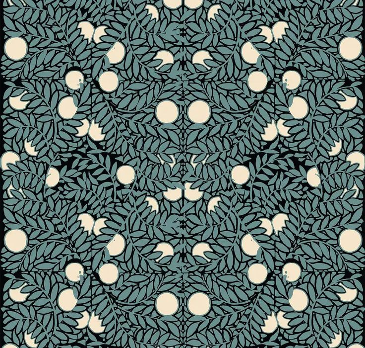 Orange Bush Mitchell Black Wallpaper and Textiles