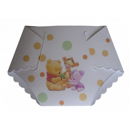 Winnie the Pooh Baby Shower Diaper Invitations