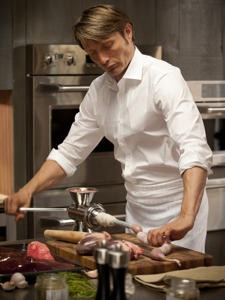 Mads Mikkelsen @ Hannibal. Fantastic picture of him making people sausage. Beautiful pic. PEOPLE SAUSAGE.