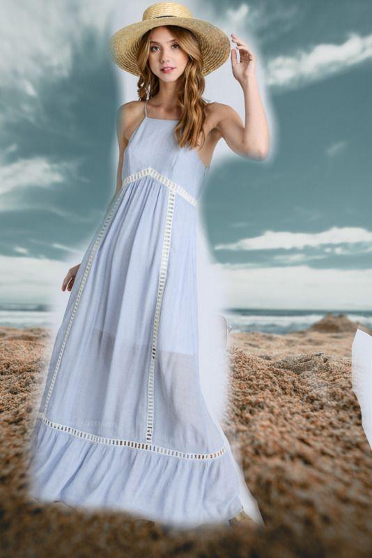ddcfaa740406c Anthropologie Doe & Rae Blue Boho Hippie Halter Maxi Sun Dress Lined Vegan  Small #fashion