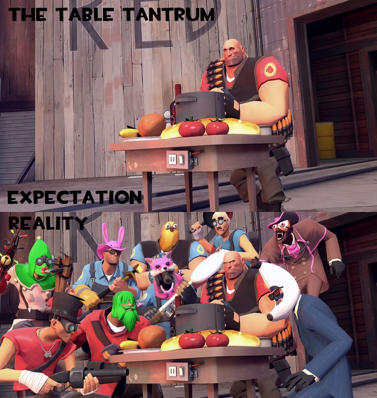 """Let's get some quality content back onto this Subreddit. """"Table Tantrum: Expectation Versus Reality"""" (Credit to Steam user Aeropinz) #games #teamfortress2 #steam #tf2 #SteamNewRelease #gaming #Valve"""