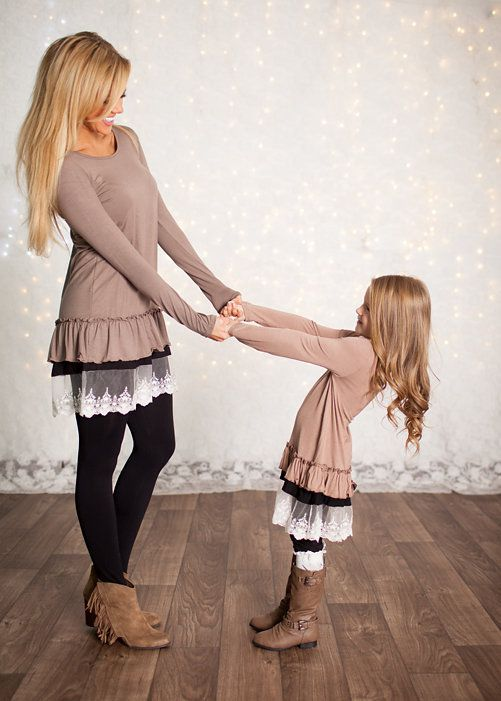 Mommy and Me Winter Party Baby Doll Dress Mocha - Ryleigh Rue Clothing by MVB