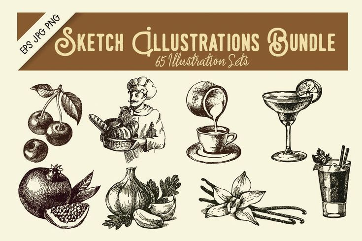 Set of 65 sketch illustration sets great for your print or web design projects. Also perfect for greetings, posters, apparel, packaging, invites, graphic design and much more