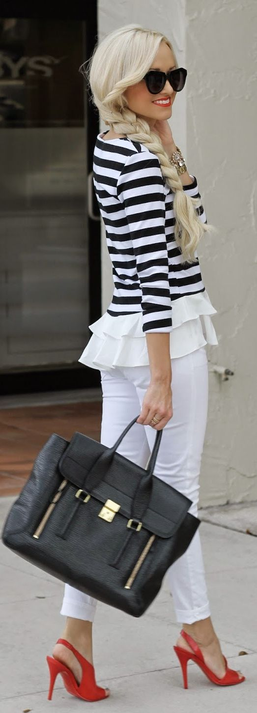 Goodnight Macaroon Black And White Fitted Striped Ruffle Peplum Top by A spoonful of Style