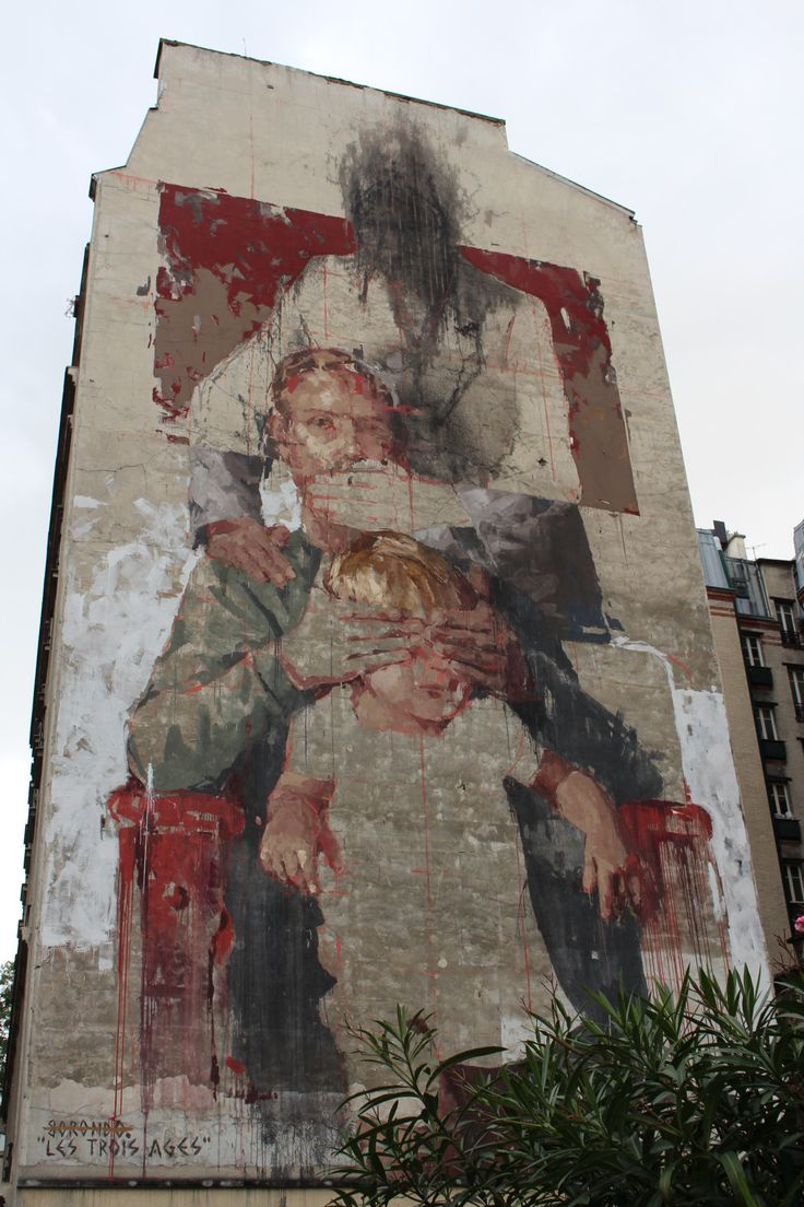 "bfstreetwalls:  ""Les Trois Ages"" (Three Generations)  Mural by Borondo in Paris 13th district.  Fresque de Borondo dans le 13ème arrondissement de Paris."