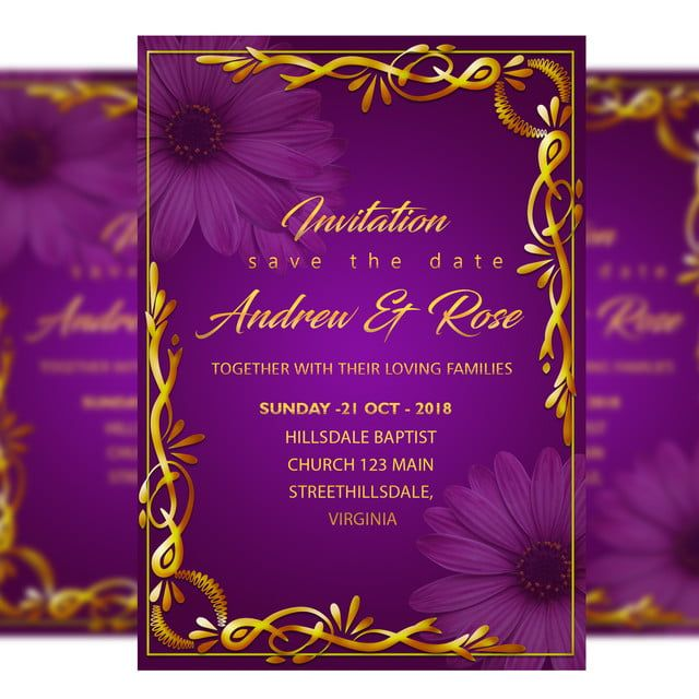 Gold Border Wedding Invitation Card Template With With Gold Frame And Purple Background Tarjeta De Invitacion Boda Invitaciones De Boda Romantica Invitaciones De Boda