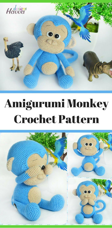 Amigurumi Cute Blue Monkey Crochet Pattern Printable PDF #ad ...