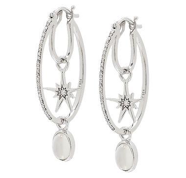 Sterling Silver Rhodium Plate Diamond Hoop Earrings with Dangling Stars