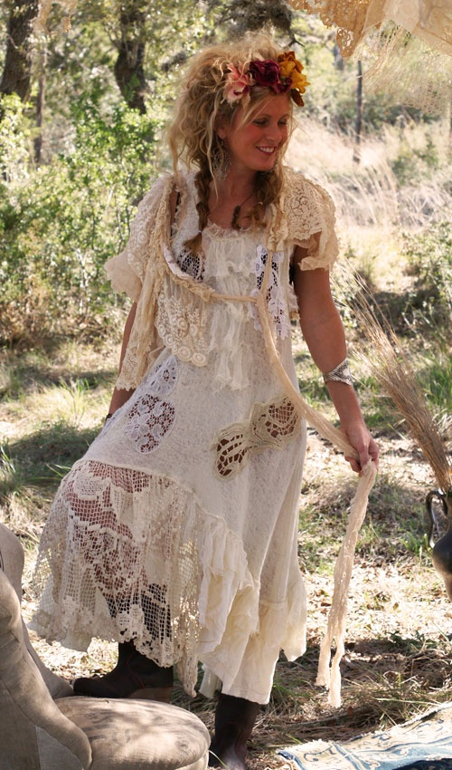 I love wearing cotton and lace.  Comfortable and feminine.