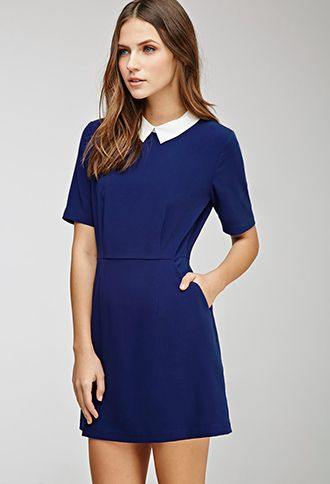 Collared Crepe A-Line Dress   FOREVER21 - 2000082396