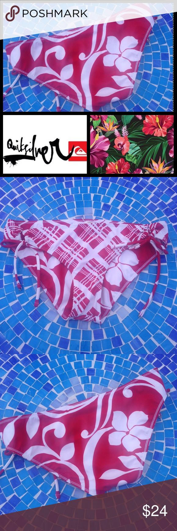 NEW Quicksilver Raisin reversible Sweet Pea bottom Absolutely gorgeous & ultra-versatile Raisons Swim bottoms reverse to accommodate your personal style!  1 side features a tropical Hawaiian 🌺 print & the other, a plaid, striped print to easily pair with any neutral top!  Size is Large & bottoms are brand new, never worn with tags & hygienic sticker attached!  No trades please.  Retail at $44! Raisins Swim Bikinis