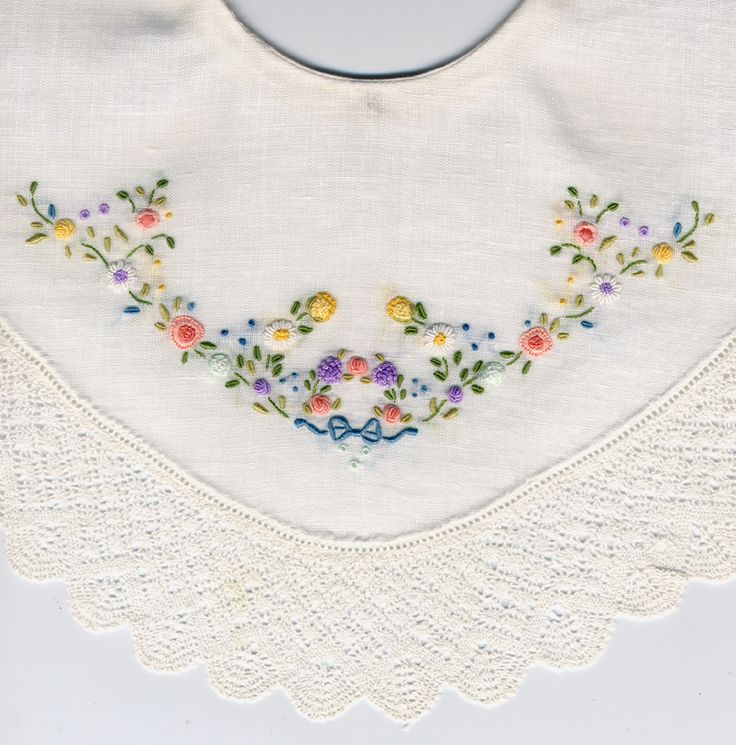 "Cambric linen collar with multi-colored embroidery and Torchon lace edging.  Designed by Trudy Horne for ""Circa 1925"" collar pattern published by Belles & Beaus. Made by Trudy Horne."