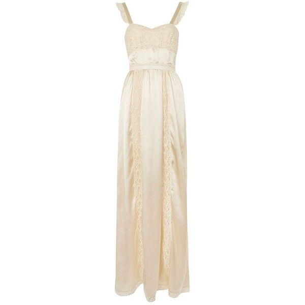 Topshop Satin Lace Maxi Dress (2,315 MXN) ❤ liked on Polyvore featuring dresses, ivory, pink maxi dress, pink cocktail dress, pink formal dresses, ivory cocktail dress and maxi dresses