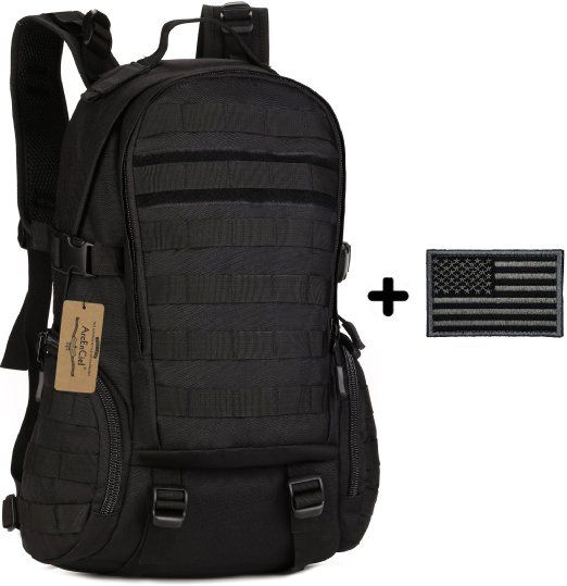 ArcEnCiel 35L Camping Bags Water-Resistant Molle Backpack Military 3P Gym School Trekking Ripstop Woodland Tactical Gear for Men with Patch (Black)