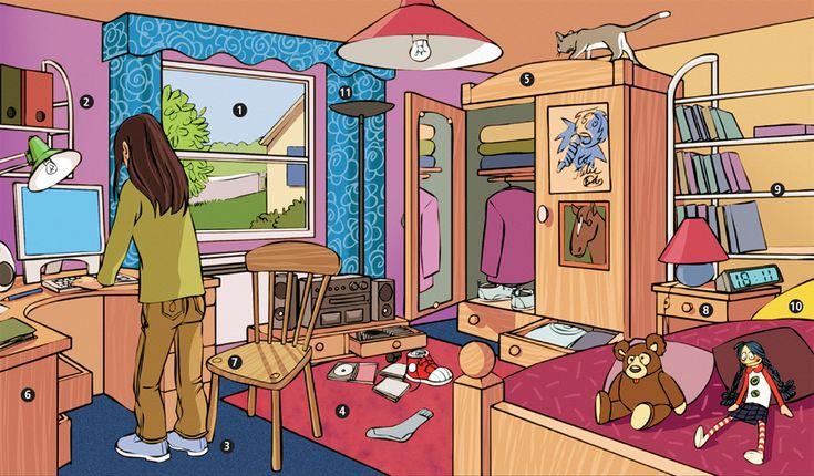 D crire une chambre situer les objets casa pinterest for Objet de chambre
