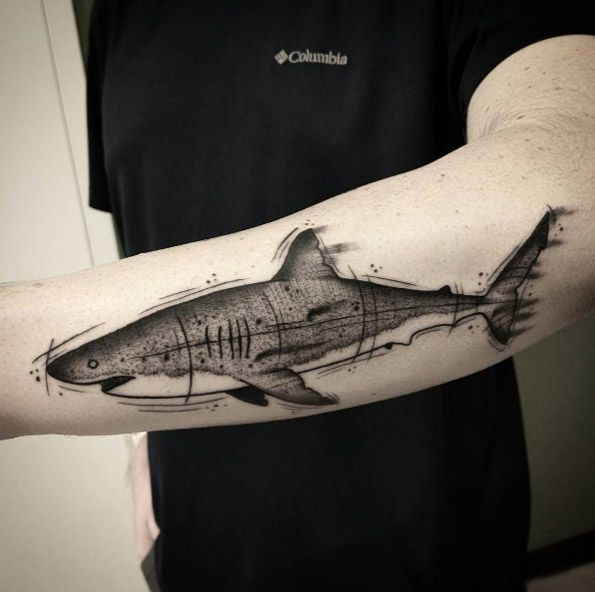 Sketched out shark tattoo by Shane Olds