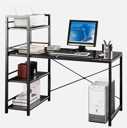 Black Glass Computer Desk with Bookshelf Storage