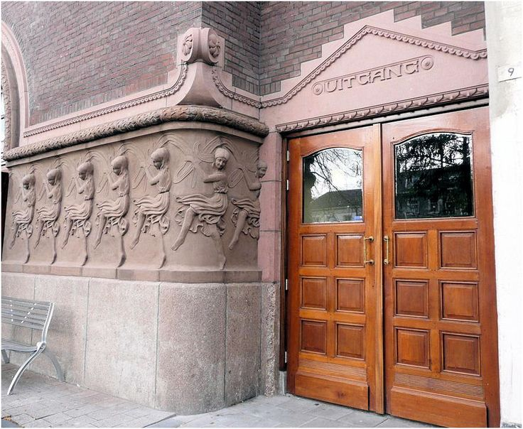 love the dancing ladies on the sidewall-presently, this is the Luxor Concert Hall  in Arnhem, Netherlands---1914-1915