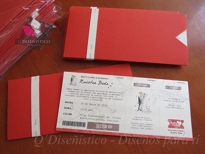 Parte de Matrimonio estilo Ticket de Evento https://disenoparati.wordpress.com/