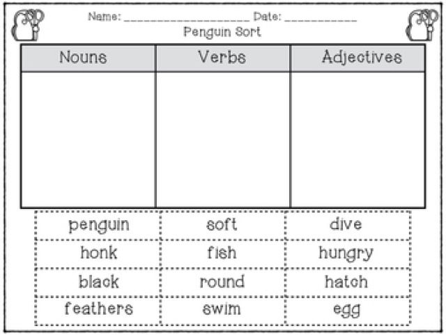 This sort was the perfect compliment to the nouns/ verbs/ adjectives sort that my first graders did for centers during our penguin unit!  Little Owl's Teacher Treats...: Back to First Grade: Penguins and Polar Bears and Reindeer, Oh My!
