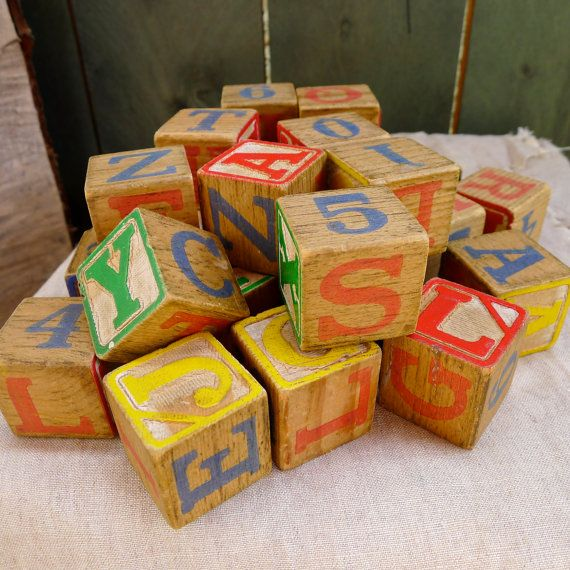 vintage wooden children's blocks  letters by nestingplacemarket
