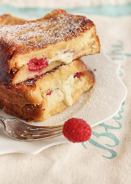 White Chocolate & Raspberry Brioche French Toast--I want this right now.