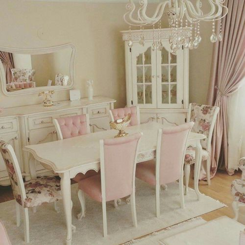 Shabby Chic White And Pale Pink Dining Room With Chandelier Mismatched Chairs