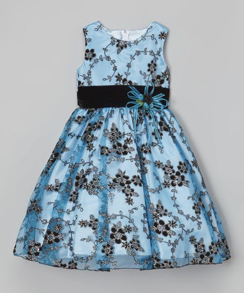 Look at this Blue & Black Floral Sash Dress - Infant, Toddler & Girls on #zulily today!