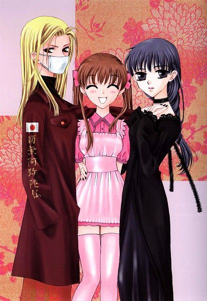 Tohru with her friends Uo-chan and Hana-chan from Fruits Basket.  I love each girls different style.  Especially Hana-chan's goth attire!