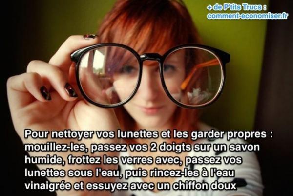 Seuls les porteurs de lunettes connaissent le calvaire que représentent des verres qui se salissent à longueur de journée. On a beau les nettoyer avec la lingette fournie par l'opticien, rien à faire, les verres restent inexorablement sales.  Découvrez l'astuce ici : http://www.comment-economiser.fr/nettoyant-lunettes.html?utm_content=buffere20b8&utm_medium=social&utm_source=pinterest.com&utm_campaign=buffer