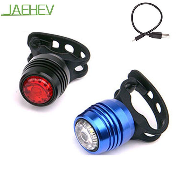 JAEHEV Ciclismo Luces USB Recargable de Bicicletas Frente Cabeza Faro Impermeable de la Bicicleta de Seguridad Advertencia luz Trasera Luz Trasera LED Luces