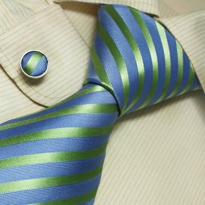 Blue green striped men ties birthday gift mens accessories silk neck tie cuff links set A1049 $23.99