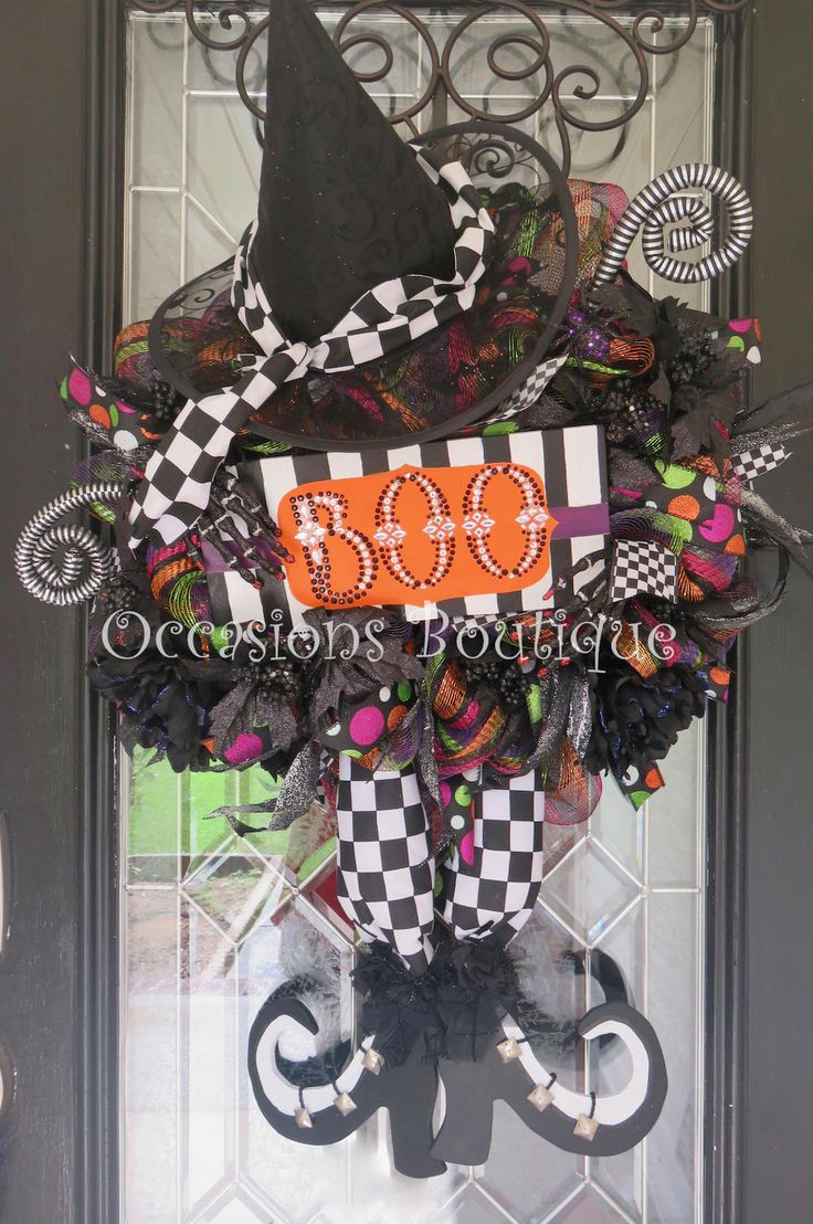 Halloween Wreath, Wicked Witch Wreath, Fall Wreath, Door Hanger, Whimsical Wreath, Deco Mesh, Front door wreath by OccasionsBoutique on Etsy
