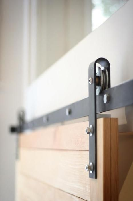 The hardware for the sliding barn door look